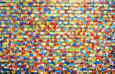 Canvas print Background color of street graffiti on a brick wall