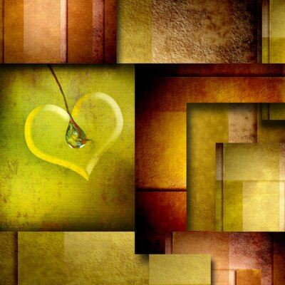 Canvas print background with heart design element on brown and green