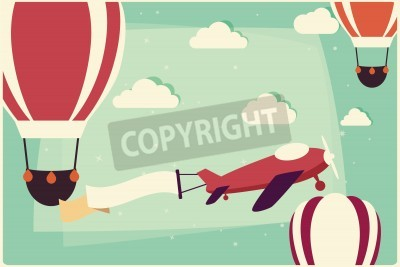 Canvas print Background with hot air balloons and airplane with ribbon, vector illustration