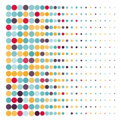 Canvas print Background with the colored dotted circles in a vector