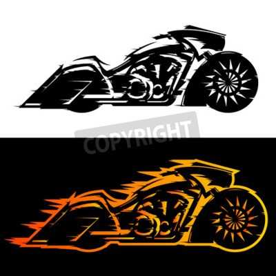 Canvas print Bagger style motorcycle vector illustration,  Baggers custom motorbike covered in flames
