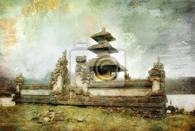 Balinese temple beside lake - picture in painting style