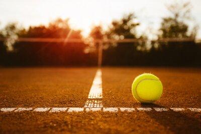 Canvas print Ball on a tennis court