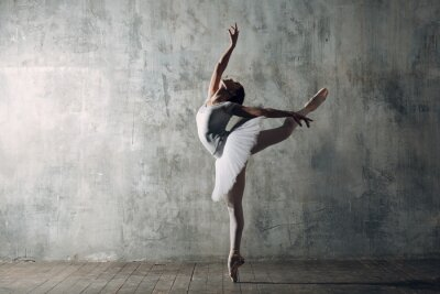 Canvas print Ballerina female. Young beautiful woman ballet dancer, dressed in professional outfit, pointe shoes and white tutu.