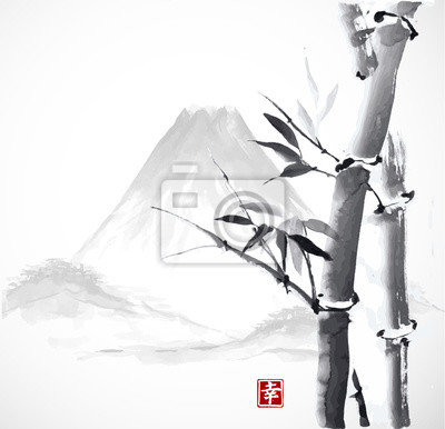 Bamboo and mountains, hand-drawn with ink