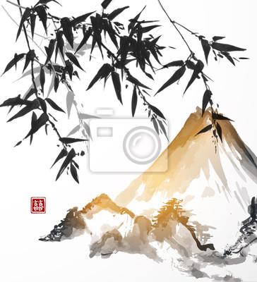 Bamboo and mountains, hand-drawn with ink in traditional Japanese style sumi-e. Vector illustration. Contains hieroglyph - double luck.