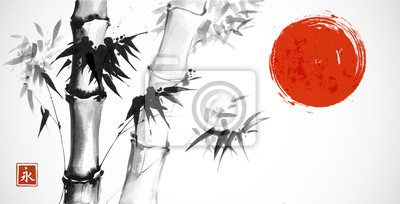 Bamboo and red sun on white background. Traditional Japanese ink wash painting sumi-e. Hieroglyph- eternity