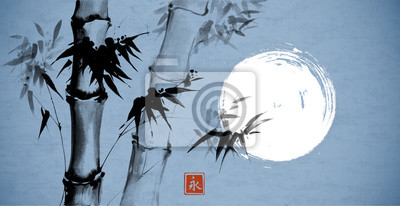 Bamboo and the moon on blue  background. Traditional Japanese ink wash painting sumi-e. Hieroglyph- eternity