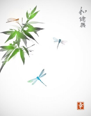 Canvas print Bamboo branch and three dragonflies