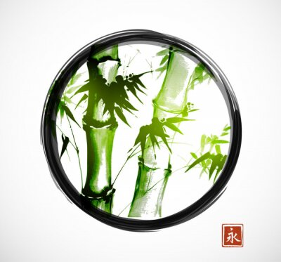 Bamboo in black enso zen circle on white background. Traditional Japanese ink wash painting sumi-e. Sign - eternity.