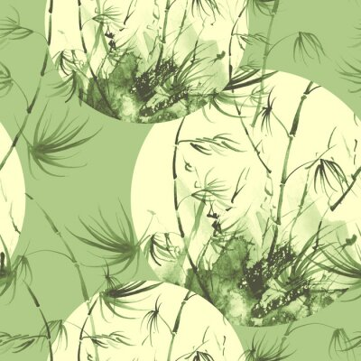 Canvas print Bamboo watercolor stems and leaves seamless pattern. painting of bamboo forest on textured paper. Decorative watercolor bamboo, jungle, thickets. silhouette branches, tropics