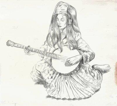 Canvas print Banjo Player - vector illustration (converted)