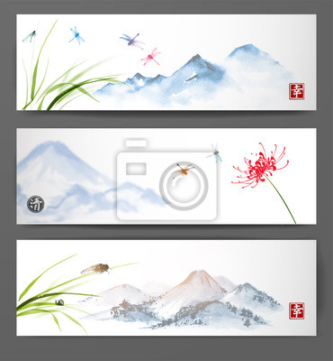 Canvas print Banners with mountain landscape. Dragonflies and cicada over the flower an grass.  Traditional Japanese ink painting sumi-e, u-sin, go-hua. Hieroglyphs - happiness, clarity.
