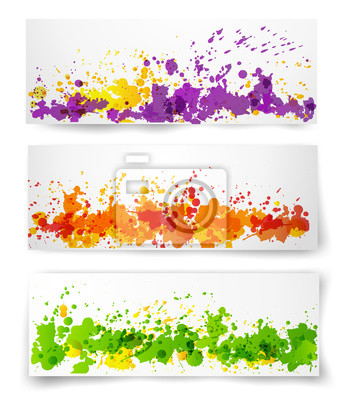 Banners with multcolored splashes