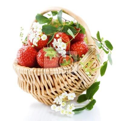 Canvas print Basket of strawberries