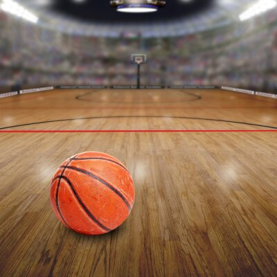 Canvas print Basketball Arena With Ball on Court and Copy Space. Rendered in Photoshop.