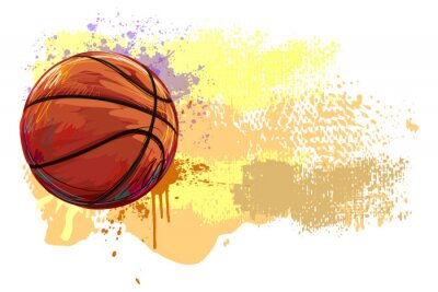 Canvas print Basketball Banner. All elements are in separate layers and grouped.