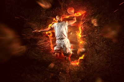 Canvas print Basketball Player on Fire