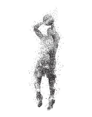 Canvas print basketball player, silhouette