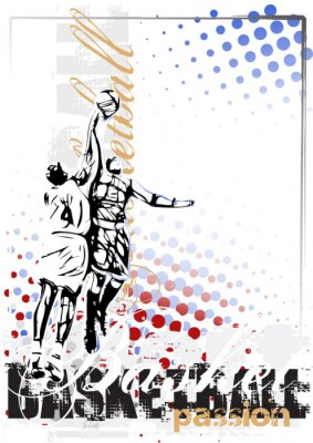 Canvas print basketball vector poster background
