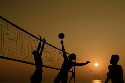 Canvas print Beach volleyball silhouette