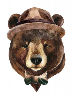Canvas print Bear head watercolor