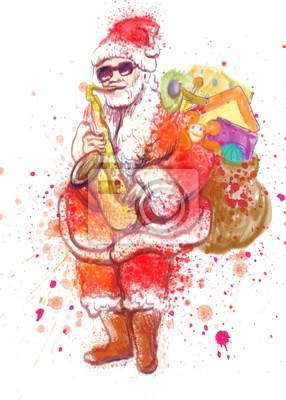 bearded Santa Claus playing the saxophone