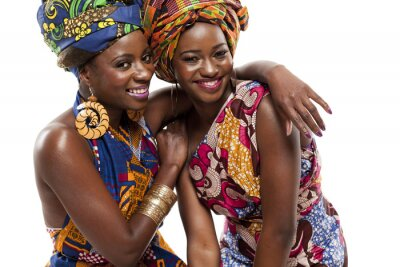 Canvas print Beautiful African fashion modesl in traditional dress.