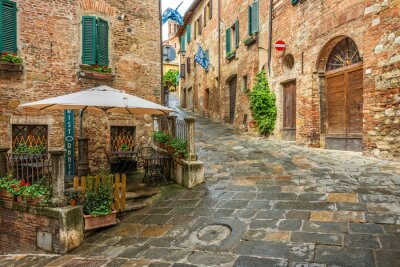 Canvas print Beautiful alley in Montepulciano, Tuscany, Italy