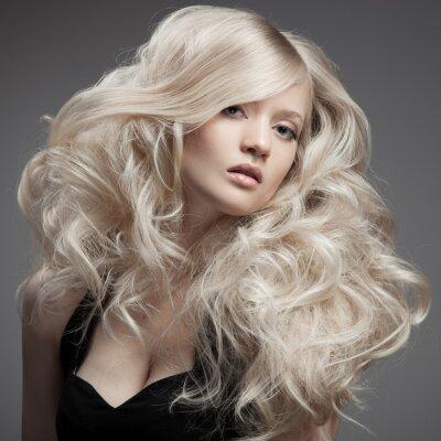 Canvas print Beautiful Blond Woman. Curly Long Hair