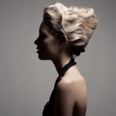 Canvas print Beautiful Blonde Woman. Retro Fashion Image.