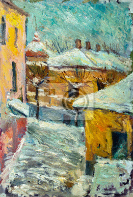 Canvas print Beautiful bright colors  winter Original Oil Painting of street  On Canvas