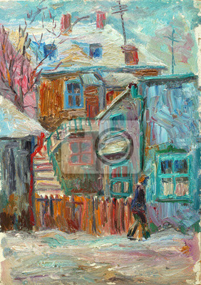 Canvas print Beautiful bright colors  winter Original Oil Painting ofman walking on the street On Canvas