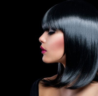Canvas print Beautiful Brunette Girl. Beauty Woman with Short Black Hair