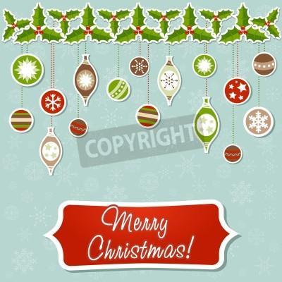 Beautiful Christmas greeting card with xmas toys, balls and holly garland