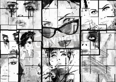 Canvas print Beautiful collage , faces of women . Hand painted fashion illustration
