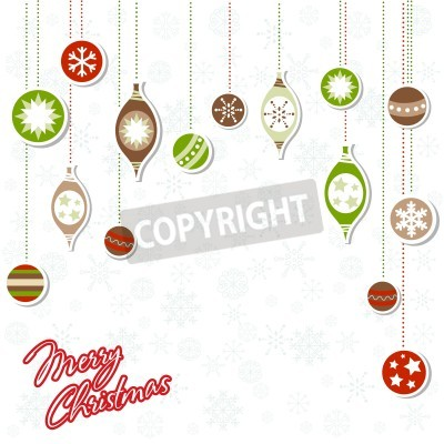 Beautiful design Christmas greeting card with xmas toys, balls and snowflakes