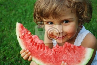 beautiful four years old with watermelon