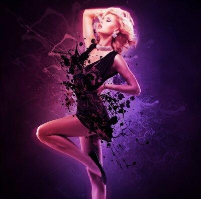 Canvas print Beautiful girl dancer  in black dress in creative pose over art