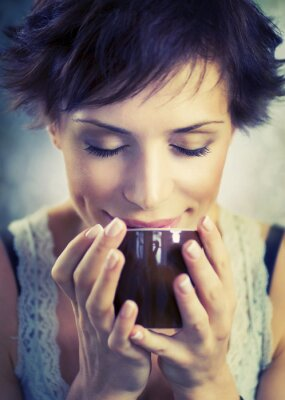 Canvas print Beautiful Girl With Cup of Coffee