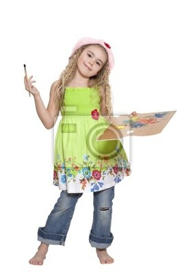 Canvas print Beautiful girl with paintbrush and palette over white