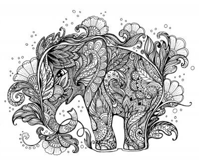 Canvas print Beautiful hand-painted elephant with floral ornament