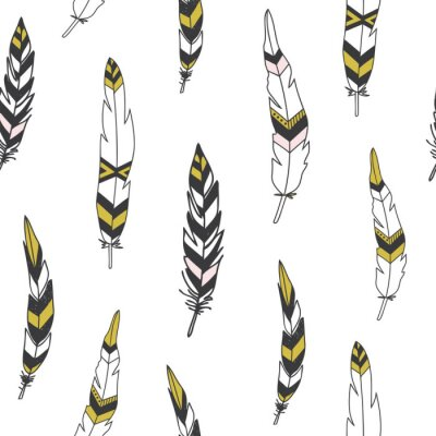 Canvas print Beautiful indian seamless pattern with feathers in vector.