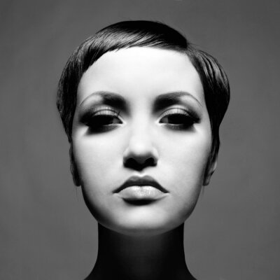 Canvas print Beautiful lady with short hair