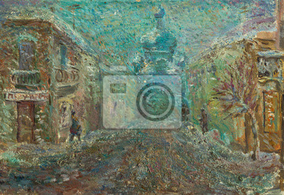 Canvas print Beautiful Original Oil Painting Chernivtsi city street in bright colors  On Canvas