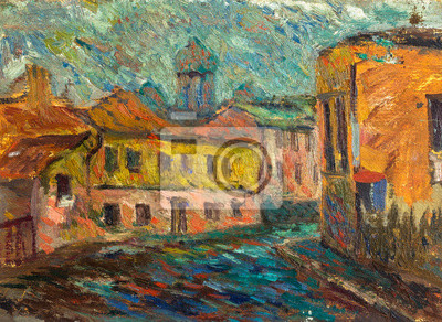 Canvas print Beautiful Original Oil Painting Chernivtsi city street in bright colors  On Canvas