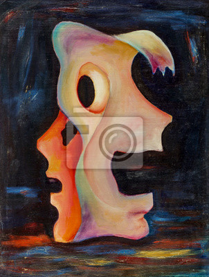 Beautiful Original Oil Painting double mask with yellow, blue, red, smears, purple, white, with and shadows