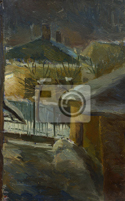 Beautiful Original Oil Painting Landscape On Canvas Winter road and houses
