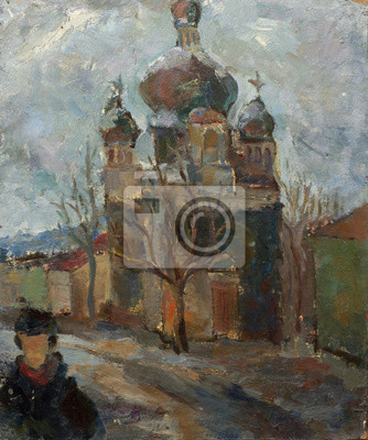 Beautiful Original Oil Painting Landscape On Canvas with Church on Street