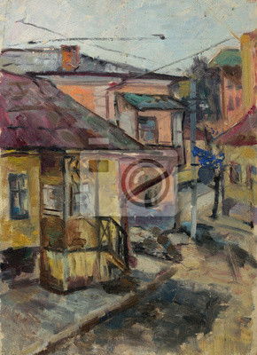 Beautiful Original Oil Painting Landscape On Canvas with houses on the street